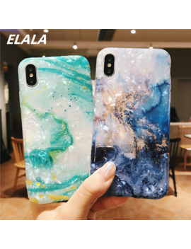 Elala Glossy Marble Case For Iphone 7 X Case Funny Pattern Glitter Conch Silicone Cover For I Phone 6 S 7 8 Plus X Xr Xs Max Cases by Ali Express.Com