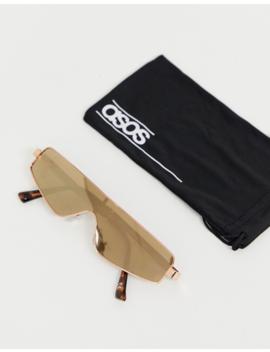Asos Design Visor Sunglasses With Rose Gold Frame And Mirror Lense by Asos Design