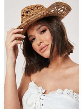 Tan Cut Out Detail Western Straw Hat by Missguided