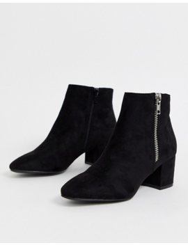 Pimkie Faux Suede Zip Side Ankle Boot In Black by Pimkie