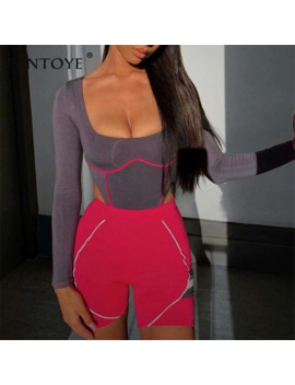 Fantoye 2019 New Women Stripped Bodycon Bodysuit Full Sleeve Low Collar Romper Summer Skinny Playsuit Casual Beachwear Bodysuits by Ali Express.Com