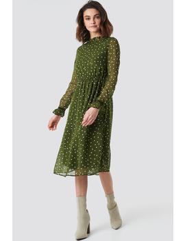 Frill Detail High Neck Chiffon Dress Groen by Na Kd Boho
