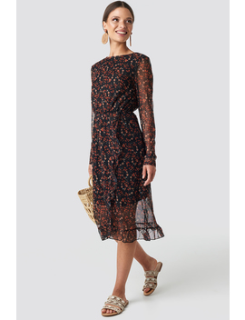 Frill Detail Printed Mesh Dress Zwart by Na Kd Boho