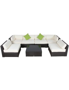 Smithville 9 Piece Rattan Sectional Seating Group With Cushions by Allmodern