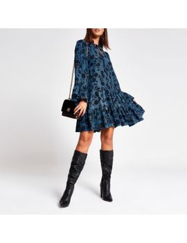 Blue Floral Long Sleeve Mini Smock Dress by River Island