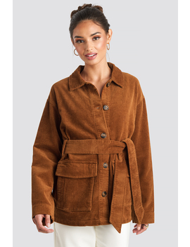 Tied Waist Corduroy Jacket Brown by Na Kd Trend
