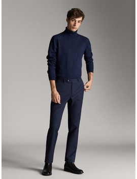 Slim Fit Navy Herringbone Trousers by Massimo Dutti