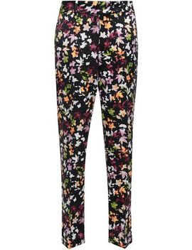Florence Floral Print Washed Silk Straight Leg Pants by Equipment