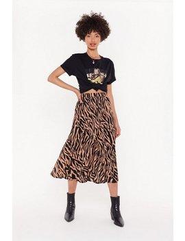 Zebra Pleated Midi Skirt by Nasty Gal