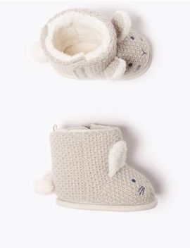 Baby Knitted Rabbit Riptape Boots (0 18 Months) by Marks & Spencer