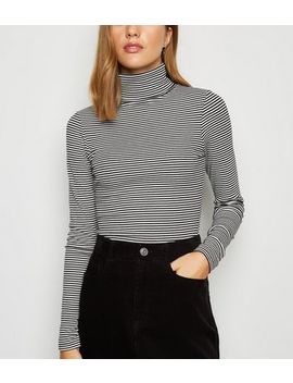 Black Ribbed Stripe Roll Neck Top by New Look