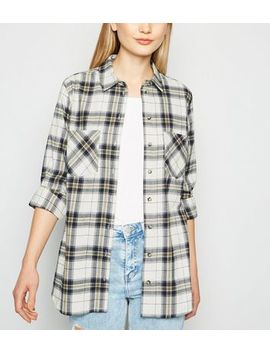 White Check Print Flannel Shirt by New Look
