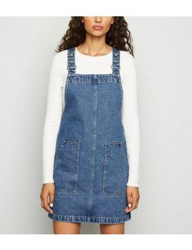 Blue Denim Dungaree Pinafore Dress by New Look
