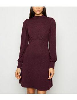 Burgundy Fine Knit Long Sleeve Dress by New Look