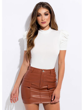 In My Pocket Faux Leather Miniskirt by Go Jane