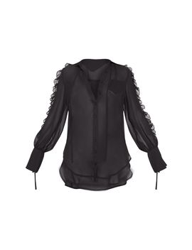 Black Chiffon Ruffle Sleeve Blouse  by Prettylittlething