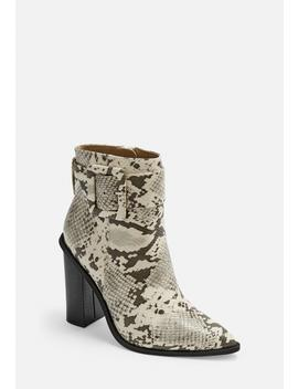 Gray Snake Buckle Block Heel Pointed Ankle Boots by Missguided