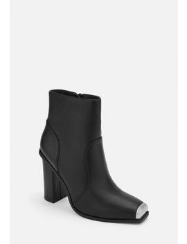 Black Metal Toe Cap Western Style Boots by Missguided