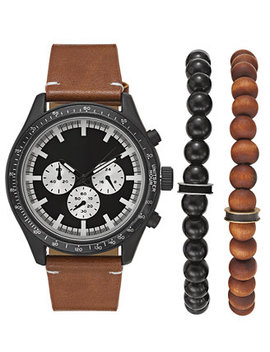 I.N.C. Men's Brown Leather Strap Watch 48mm Gift Set, Created For Macy's by General