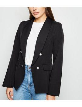 Black Utility Button Blazer by New Look