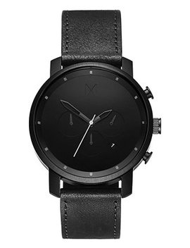 Men's Chrono Black Leather Strap Watch 45mm by General