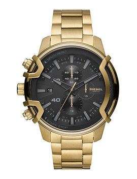 Men's Chronograph Griffed Gold Tone Stainless Steel Bracelet Watch 48mm by General