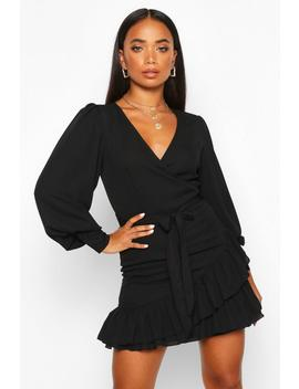 Petite Frill Hem Belted Wrap Dress by Boohoo