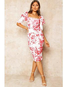 Floral Print Puff Sleeve Drape Detail Midi Dress by Boohoo
