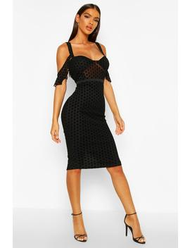 Velvet Spot Cupped Midi Dress by Boohoo