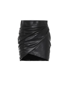 Draped Leather Miniskirt by Zeynep Arçay