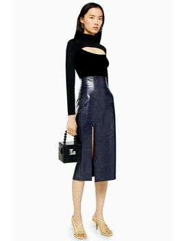 Navy Crocodile Pu Pencil Skirt by Topshop