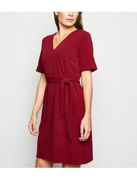 Burgundy Crepe V Neck Belted Tunic Dress by New Look