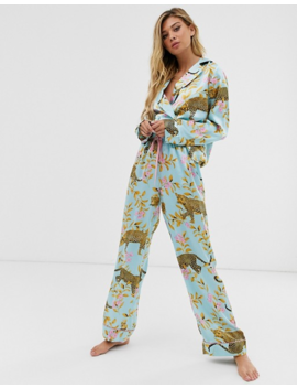 Asos Design   Pyjama Traditionnel En Satin à Imprimé Botanique Léopard by Asos Design