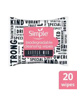 Simple X Little Mix Biodegradable Face Wipes 20 Pc by Superdrug