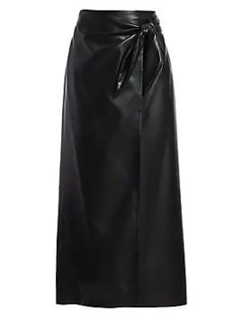 Amas Vegan Leather Side Tie Midi Skirt by Nanushka