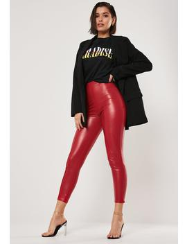 Red Faux Leather Seam Detail Leggings by Missguided