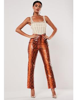 Orange Snake Print Faux Leather Straight Leg Pants by Missguided