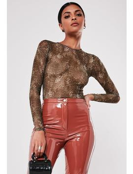 Brown Leopard Print Mesh Bodysuit by Missguided