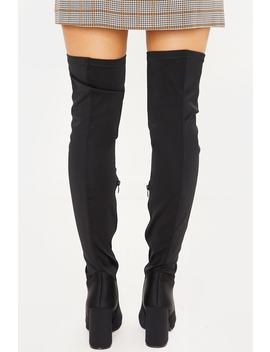 Black Stretch Block Heel Over The Knee Boots by In The Style