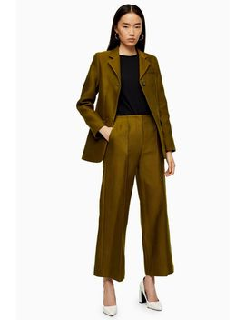 **Khaki Awkward Crop Trousers By Boutique by Topshop