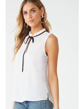 Sleeveless Chiffon Pussycat Bow Top by Forever 21