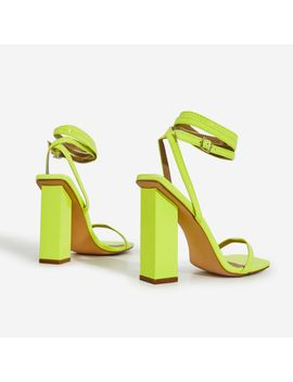 Lauve Lace Up Square Toe Block Heel In Lime Green Patent by Ego