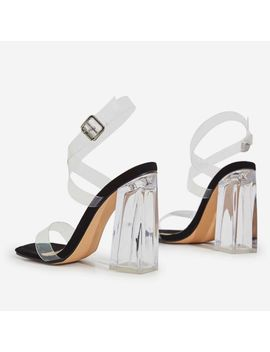 Saint Square Toe Perspex Flared Block Heel In Black Patent by Ego