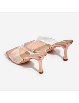 Hilton Square Peep Toe Perspex Kitten Heel Mule In Rose Gold Patent by Ego