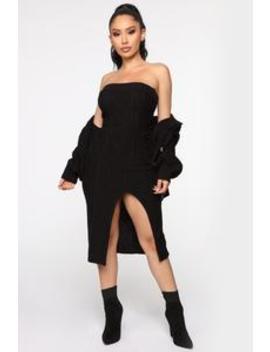 Double Up Cable Knit Dress Set   Black by Fashion Nova