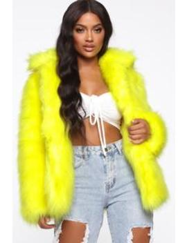 Fur Ever Yours Jacket   Yellow by Fashion Nova