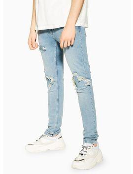 Indigo Biker Blowout Skinny Jeans by Topman