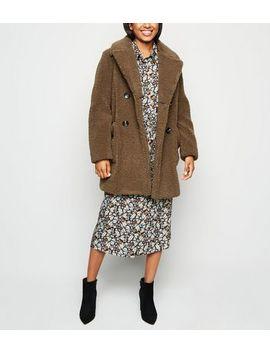 Petite Rust Teddy Coat by New Look