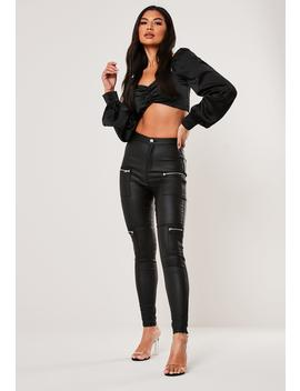 Petite Black Vice High Waisted Coated Zip Pocket Jeans by Missguided