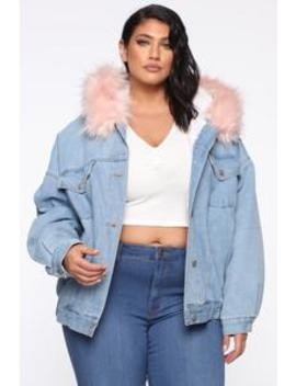 Stop Staring Denim Jacket   Denim/Pink by Fashion Nova